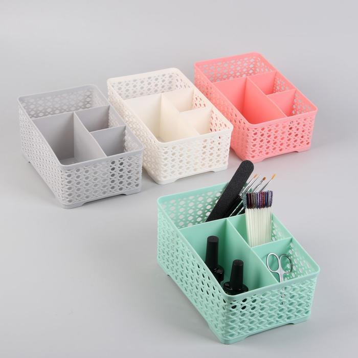 Подставка для маникюрных/косметических принадлежностей, 4 ячейки, цвет МИКС