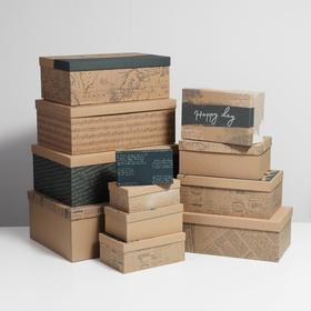 Набор подарочных крафтовых коробок 12 в 1 «Газетный», 12 х 7 х 4 см - 46,6 х 35,2 х 17.5 см