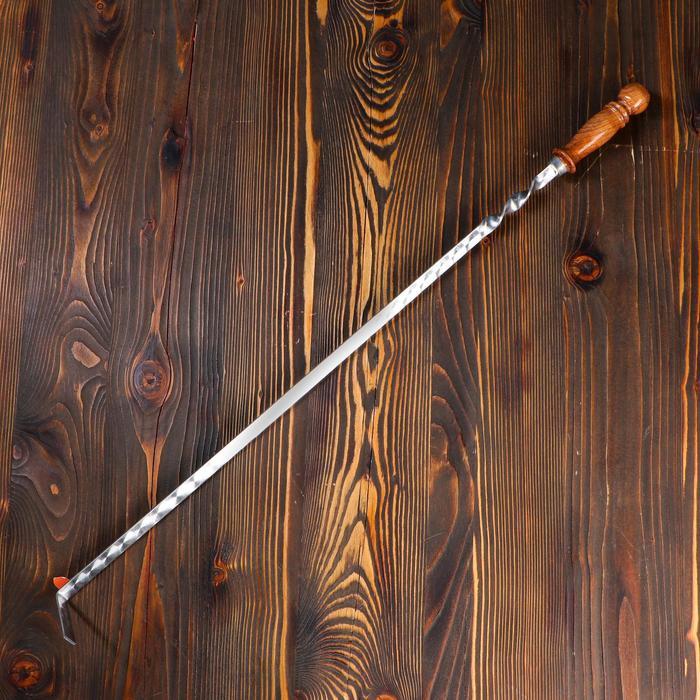 Кочерга узбекская с деревянной ручкой, с узором, 60/1,6см, сталь 3мм