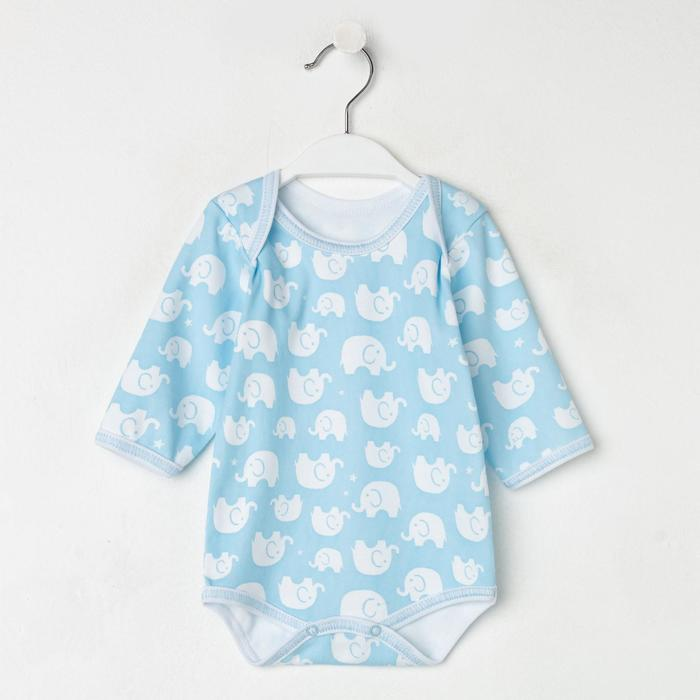 Боди с длинным рукавом детское, цвет голубой/слоны, рост 62 - фото 1961644