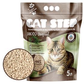 Наполнитель комкующийся растительный CAT STEP Wood Original, 5 л