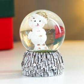 """Сувенир полистоун водяной шар """"Медвежонок в новогоднем колпаке"""" d=4,5 см 6х4,5х4,5 см"""