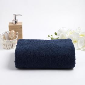 Полотенце махровое гладкокрашенное 100х180 см, тёмно-синий, хлопок 100%, 400г/м2