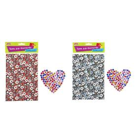 Fabric adhesive for decoration No. 1, sheet size 21*14.5 cm + rhinestone 5 g, MIX color