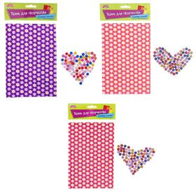Fabric adhesive for decorative No. 5, sheet size 21*14.5 cm + rhinestone 5 g, MIX color