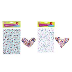 Fabric adhesive for decoration No. 9, sheet size 21*14.5 cm + rhinestone 5 g, MIX color