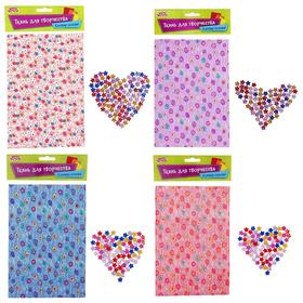Fabric adhesive for decoration No. 10, sheet size 21*14.5 cm + rhinestone 5 g, MIX color