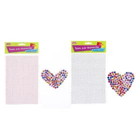 Fabric adhesive for decoration No. 12, sheet size 21*14.5 cm + rhinestone 5 g, MIX color