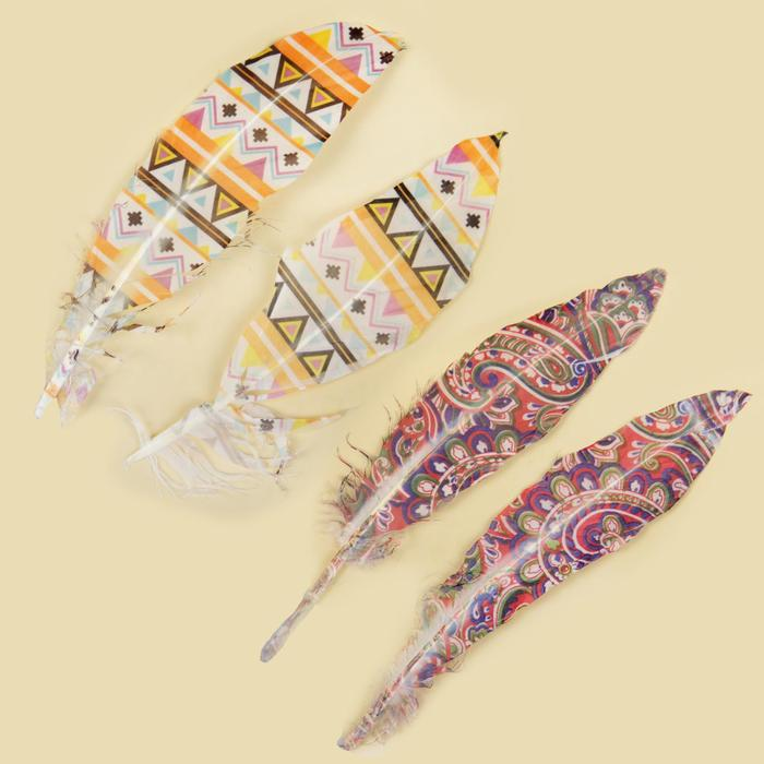 Набор перьев для декора 2 шт. «Орнамент», МИКС - фото 417419