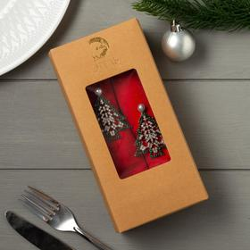 """A set of napkins with rings Ethel """"Christmas tree"""" 40*40-2 PCs., Col. red,100% cotton"""