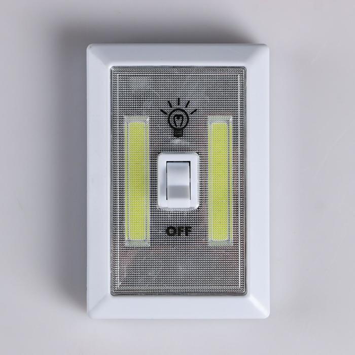 Фонарь-светильник, 3хААА, COB-диод, гвоздь, магнит, клейкая основа 11.2х7.5х3.5 см - фото 7644660