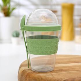 Стакан для йогурта с ложкой, цвет МИКС