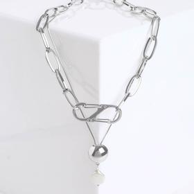 """Кулон """"Цепь"""" полусфера с жемчужинкой, цвет белый в серебре, L=50 см"""
