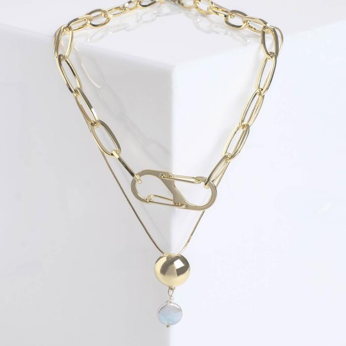 """Кулон """"Цепь"""" полусфера с жемчужинкой, цвет белый в золоте, L=50 см"""