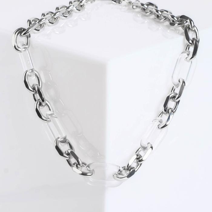 """Колье """"Цепь"""" полупрозрачные вставки, цвет серебро, L=50 см"""