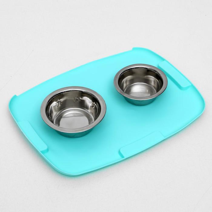 Коврик 2-в-1 под миску/туалет животных, термопластичный каучук, 40х30 см, микс цветов