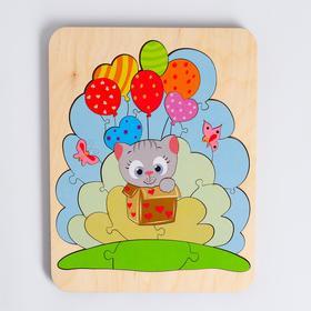 Пазл - вкладыш «Путешествие котёнка» 22×17 см