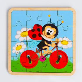 Пазл - вкладыш в рамке «Божья коровка» 16×16 см