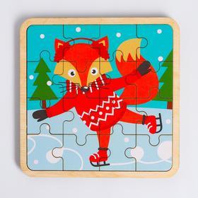 Пазл - вкладыш в рамке «Лисичка на коньках» 16×16 см