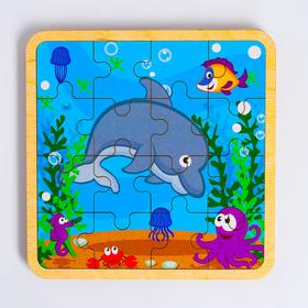 Пазл - вкладыш в рамке «Дельфин» 16×16 см
