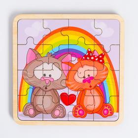 Пазл - вкладыш в рамке «Котята» 16×16 см