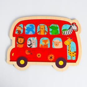 Пазл - вкладыш в рамке «Автобус с животными» 32×23 см