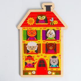 Пазл - вкладыш в рамке «Домик с животными» 31×21 см