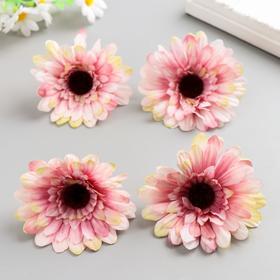 A set of decorative flowers 7,5 cm, 4 pieces, white-pink