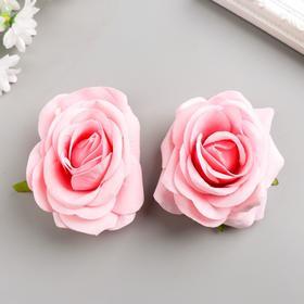 A set of decorative flowers 8 cm, 2 pieces, pink
