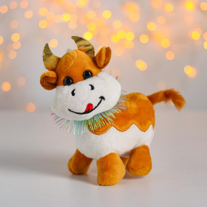 Мягкая игрушка «Бычок с украшением», на присоске, цвета МИКС