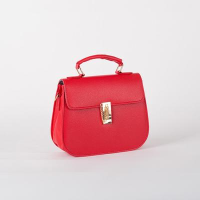 Women's bag L-599, 22*8*25, otd with pereg on the valve, red