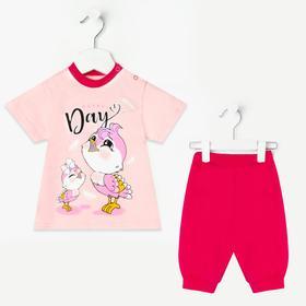 Комплект для девочки (футболка, бриджи), цвет розовый, рост 80
