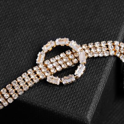 Symphony choker necklace with a ring, white in gold, 30 cm