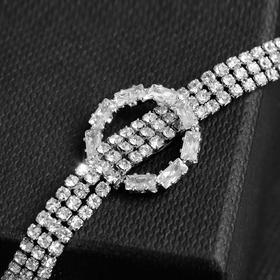 """Колье-чокер """"Симфония"""" с кольцом, цвет белый в серебре, 30 см"""