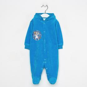 Комбинезон для мальчика, цвет синий/звери, рост 56 см