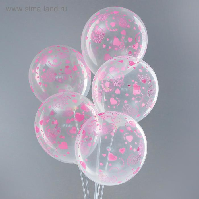 "Latex balloon 12 """"Hearts"", transparent, set of 5 PCs"