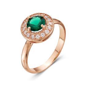 """Кольцо """"Полярная ночь"""" позолота, цвет зелёный 16,5 размер"""