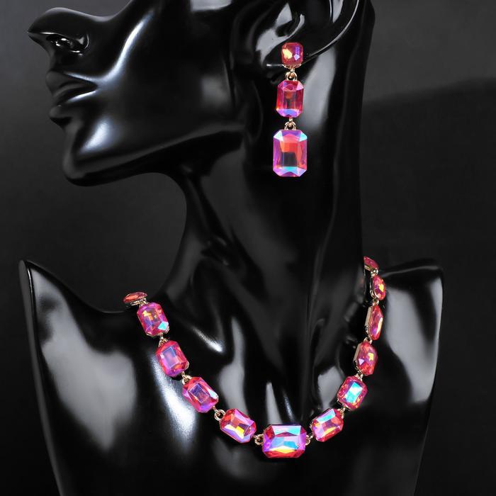 """Набор 2 предмета: серьги, колье """"Сеньорита"""", дорожка, цвет радужно-розовый в золоте"""