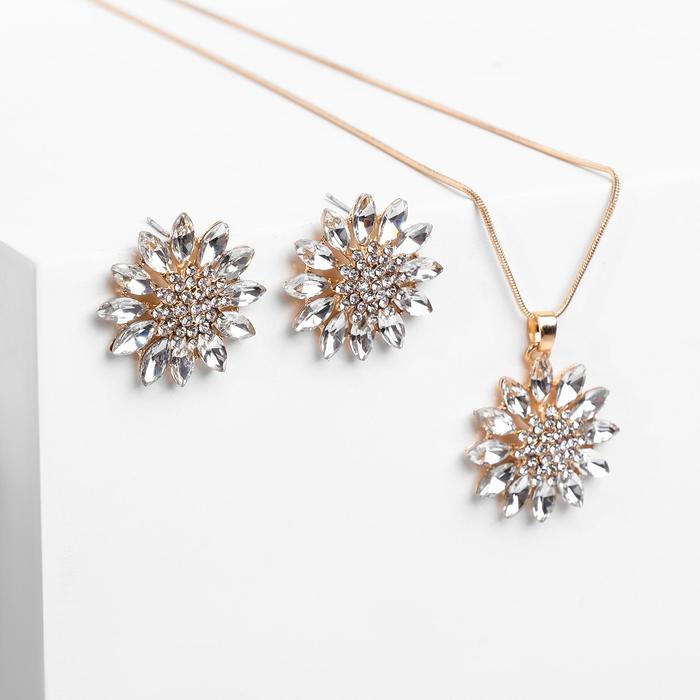 """Гарнитур 2 предмета: серьги, кулон """"Цветы"""" восход, пион, цвет белый в золоте, 45 см"""