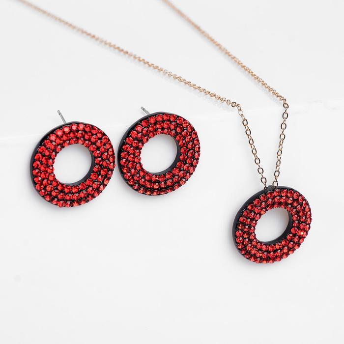 """Гарнитур 2 предмета: серьги, кулон """"Рондо"""" круги, цвет красно-чёрный, 45 см"""