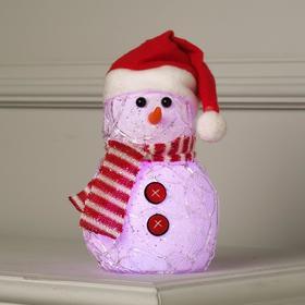 """Фигура светоиодная """"Снеговик с красными пуговицами"""", 20х12х12 см, от батареек, Т/БЕЛЫЙ"""