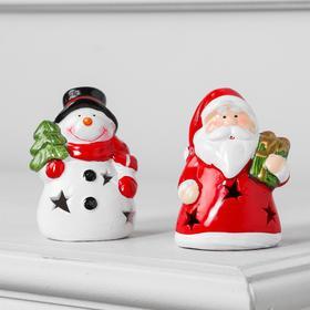 """Набор световых керамических фигур """"Дед мороз и Снеговик"""" 24 шт, 1 LED, 2xAG13, Т/БЕЛЫЙ"""