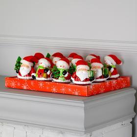 """Набор световых керамических фигур """"Снеговики и Деды Морозы"""" 12 шт, 2 LED, 2xAG13, RGB"""