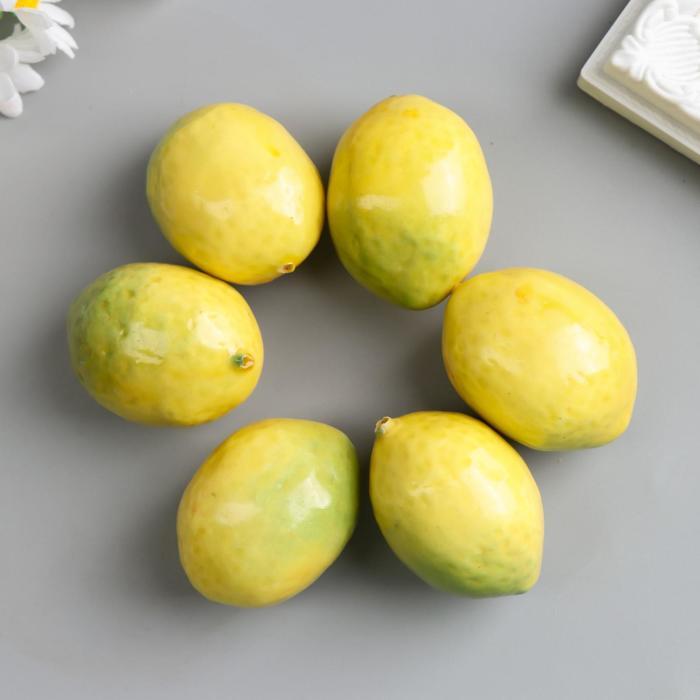 Набор декоративных лиомнов 5 см, 6 шт, жёлтый - фото 423333