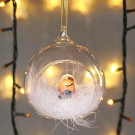 """Сувенир полистоун в шарике """"Бычок в новогоднем колпаке с фонариком"""""""