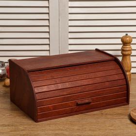 """Хлебница деревянная """"Буханка"""", прозрачный лак, цвет красное дерево, 38×24.5×16.5 см"""