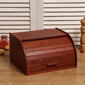 """Хлебница деревянная """"Корица"""", прозрачный лак, цвет красное дерево, 29×24.5×16.5 см"""