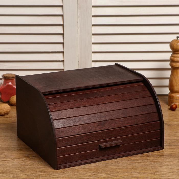 """Хлебница деревянная """"Корица"""", прозрачный лак, цвет орех, 29×24.5×16.5 см - фото 494986"""