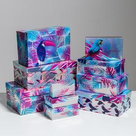 Набор иридисцентных коробок 10 в 1 «Тропики», 12 × 7 × 4 - 32.5 × 20 × 12.5 см