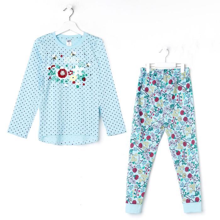Пижама для девочки, цвет голубой, рост 104-110 (30) см - фото 76493311